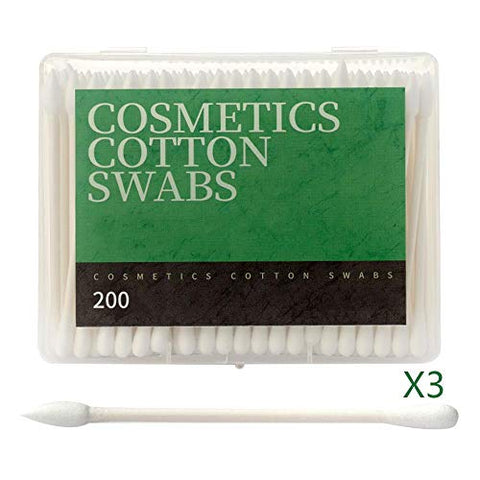 Cotton Swab, Paper Shaft Cottons Swabs Health Boxed Ear Cotton Swab, Makeup/nail/eye Makeup, 3 Boxes 600 Pcs, white