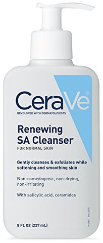 Cera Ve Renewing Sa Cleanser For Normal Skin| 8 Ounce |Gently Cleanses & Exfoliates While Softening &