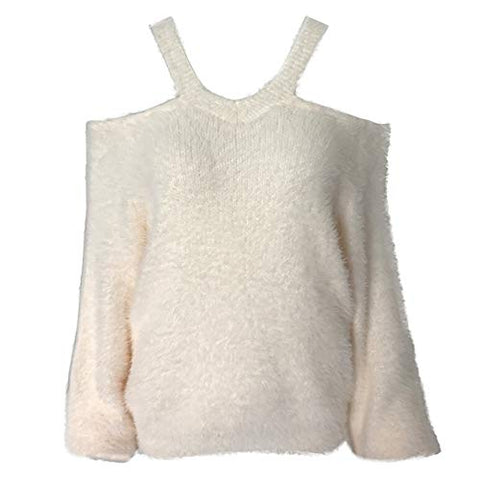 Women's Off Shoulder Sweater Faux Fur Pullover Sexy Knit Fall Blouse Tops(White,Free)