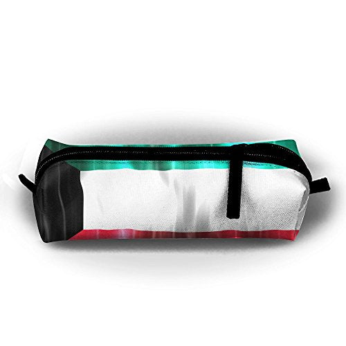 Colorful Kuwait Flag Pen Pencil Stationery Bag Makeup Case Travel Cosmetic Brush Accessories Toiletries Pouch Bags Zipper Resistance Carry Handle Power Lines Hanging Handbag Documents