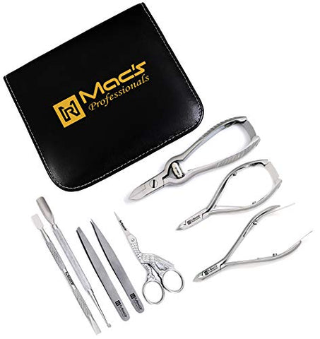 MANICURE & PEDICURE-ToeNail and Nail Care Complete Set-8 PCs Macs Professional Ingrown Toenail Set For Thick Nails Heavy Duty Made of High Grade Surgical Stainless Steel Macs Professional-852