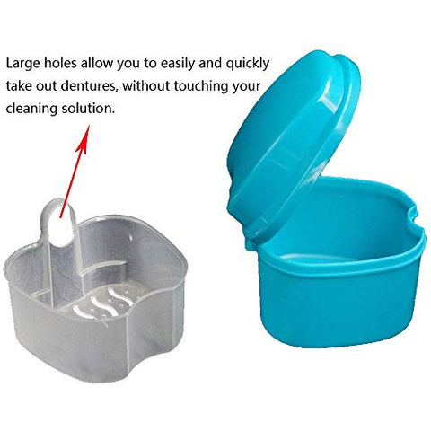 GHzzY Denture Bath Case for Travel Cleaning - Denture Bath Soaking Cup with Strainer - Denture Box for Cleaner,Store & Retrieve