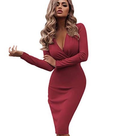 KASAAS Sexy Nightclub Mini Dress for Women Deep V Wrap Ruched Solid Long Sleeve High Waist Skinny Dresses(Small,Red)
