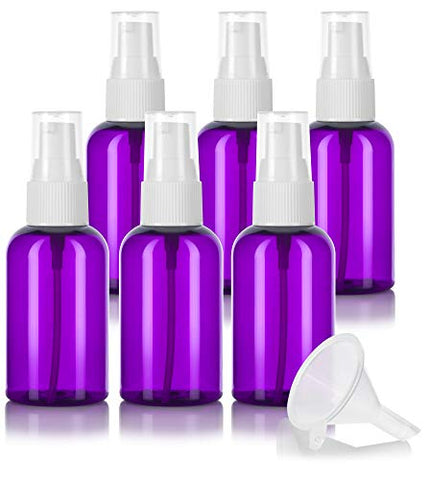 Purple 2 oz / 60 ml Boston Round PET (BPA Free) Plastic Bottle with White Treatment Pump (6 Pack) + Funnels