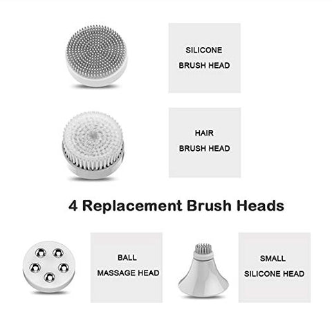 YYJHT 4 in 1 Wash Facial Cleansing Brush Sonic Vibration Face Cleaner Electric Waterproof Massage with 4 Heads Face Cleaning Apparatus (Color : Rose Gold)