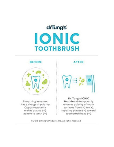 Dr. Tung's Ionic Toothbrush System With Replacement Head For Cleaner Whiter Teeth, Makes Teeth Repel