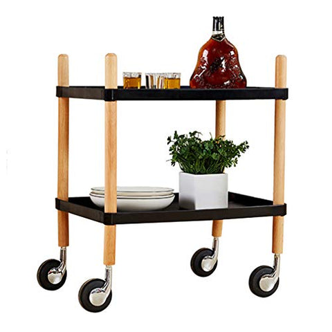 HORV 2-Tier Rolling Serving Cart with Wheels, Utility Cart, Kitchen Cart with Storage, Easy to Move with 4 Wheels, Ideal for Kitchen, Living Room, Hotel Serving Cart, White/Black