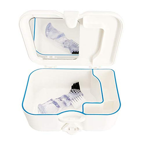 BeringMall Denture Travel Case with Built in Mirror and Brush?Sturdy, Carryon and Leak-Proof Denture Box for Dental Appliances and Retainer