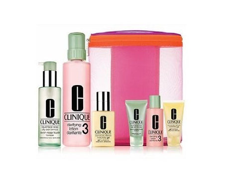 Clinique 3-step Full Size Set #3 + Traveal Size Limited Edition Cleanser,toner,moisturizer + Clinique Cosmetics Bag
