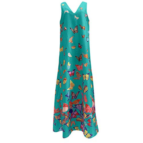 TEVEQ Women Maxi Dress Casual Vintage Dress Floral Sleeveless Loose Party Long Dress Bohemia Dress Green