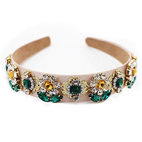 QTMY 2020 Crystal Rhinestone Pearls Headband for Women, Hair Hoop Accessories Jewelry Head Band Headwear, Flower