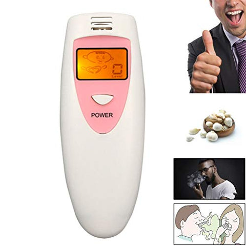 Bad Breath Tester, Self Odor Detector Cartoon Display Smell Checker Oral Cavity Hygiene Condition Analyzer Portable Breathalyzer Successful Dating Gadgets,Pink