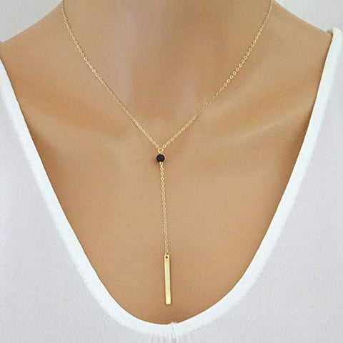 Jovono Metal Rod Pendant Necklaces Fashion Necklace Chain Jewelry for Women and Girls (Gold)