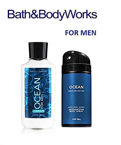 BATH AND BODY WORKS, GIFT SET OCEAN FOR MEN ~ BODY LOTION AND DEODORIZING BODY SPRAY- FULL SIZE