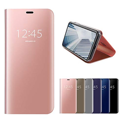 BH-MISSTARS Mistars Mirror Flip Case for Galaxy M20 Rose Gold, Premium PU Leather + Hard PC Back Cover Electroplate Clear View Design Protective Shell with Stand Function for Samsung Galaxy M20