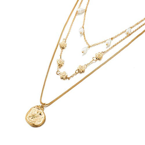 Yalice Boho Flower Necklace Gold Layered Pearl Necklaces Geometric Coin Jewelry for Women and Girls