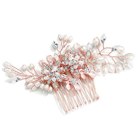 Mariell Rose Gold Freshwater Pearl Wedding Hair Comb - Designer Bridal Headpiece with Crystal Sprays
