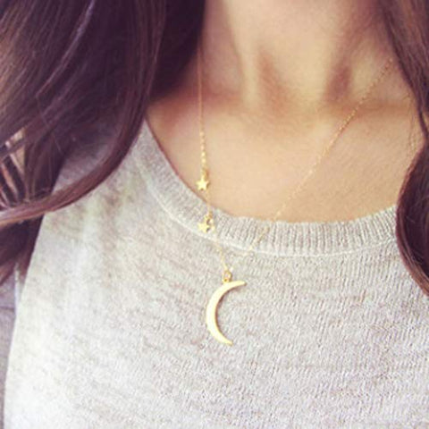 Jovono Crescent Moon Pendant Necklaces Fashion Star Necklace Chain Jewelry for Women and Girls (Gold)