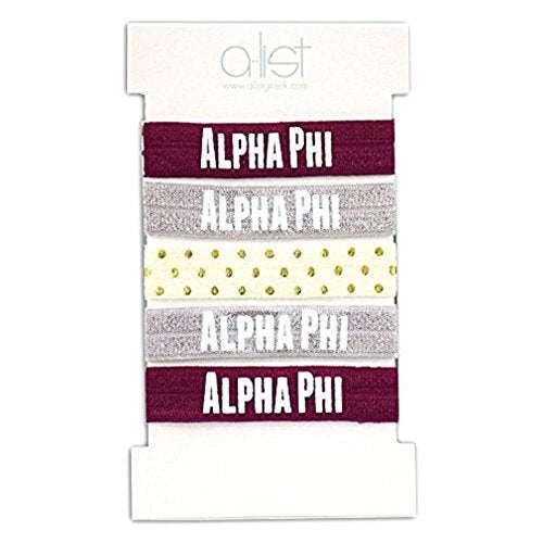 A-List Greek Elastic Hair Ties Bracelets - Alpha Phi Sorority Letters Print | No Crease Ouchless, Soft & Stretchy Ponytail Holders | Pack of 5 - Perfect for big/lil sis, Women, Girls and Kids