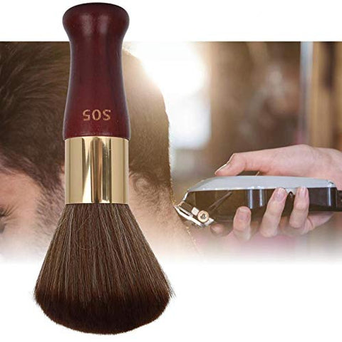 with Wooden Handle Neck Duster Brush Styling Salon Tool Durable for Barber for Makeup for Hairdressers for Beauty(Red-brown)