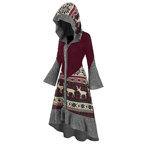 Christmas Dresses for Women Plus Size Flare Long Sleeve Vintage Elk Snowflower Hooded Knitted Party Dress Cloak Wine