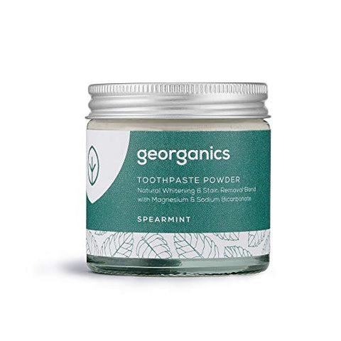 Georganics | Natural + Vegan Toothpowder, Whitening + Stain-Removing Formula, Spearmint, 120ml / 4oz