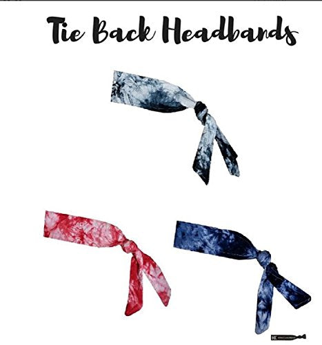 Headbands Tie on Headband for Women Men Running Athletic Hair Head Band Elastic Sports Sweat Basketball Sweatband Stetchy Yoga Workout Sweatbands Adjustable Non-Slip Moisture Wicking (Blue Tie Dye)