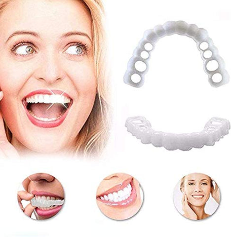 GAOXIAOMEI 4 Sets Cosmetic Venners Dentures Teeth Veneers Fake Braces Snap on Your Smile Veneer Instant Perfect Smile Essential for Dating and Work 4 Upper and 4 Lower