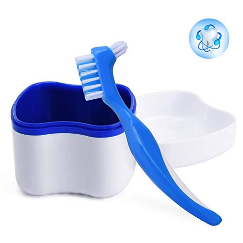 GHzzY Denture Cleaning Case with Denture Cleanning Brush - Denture Box for Cleaner,Store & Retrieve - Denture Bath Soaking Cup with Strainer