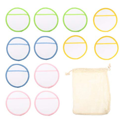 Healifty 13pcs/ Set Bamboo Reusable Makeup Remover Pads With Laundry Bag Biodegradable Cotton Bamboo Face Cleaning Cloths for Mascara Eye Shadow Lipstick Foundation 8cm