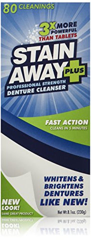 Stain Away Plus Denture Cleanser, 8.1 Ounce (Pack Of 3) (Bonus Pack 90 For The Price Of 80)