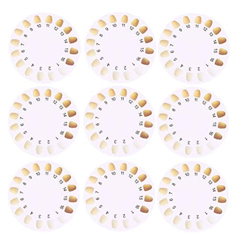 Milisten 20pcs Teeth Color Comparing Charts Round Shape Teeth Bleaching Color Shade Guide Dental Teeth Color Cards for Home Clinic Hospital