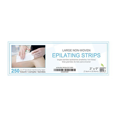 Wax Strips - Appearus Large 3x9 Non-Woven Body and Facial Waxing Strip (250 Count)