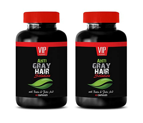 Anti Gray Hair Supplements The Best - Anti Gray Hair for Men and Women - GET Your Style Back - Stops Grey Hair Change - tyrosine Weight Loss - 2 Bottles (120 Capsules)
