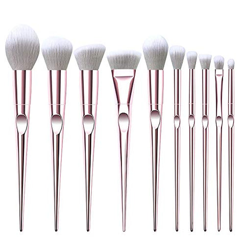10 PCS Professional Makeup Brush Set, Portable Make Up Foundation Eyebrow Eyeliner Blush Cosmetic Concealer Foundation Brushes