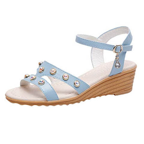 Xinantime Womens Summer Pearl Sandals Students Roman Wedges Casual Beach Shoes (Blue,35)