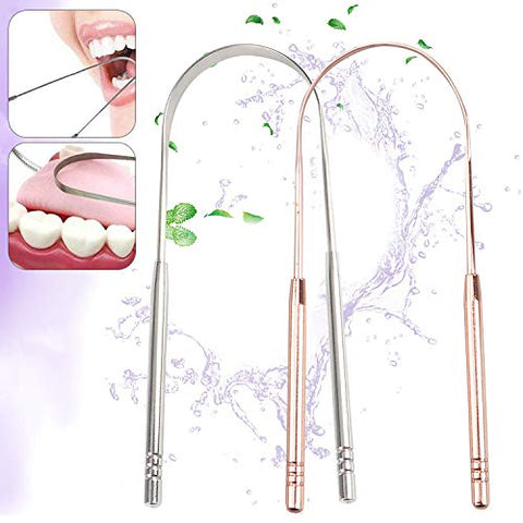 Stainless Steel Tongue Scraper Cleaner Fresh Toothbrush Dental Oral Breath Tongue Hygiene Cleaning Coated Care Tool,Silver