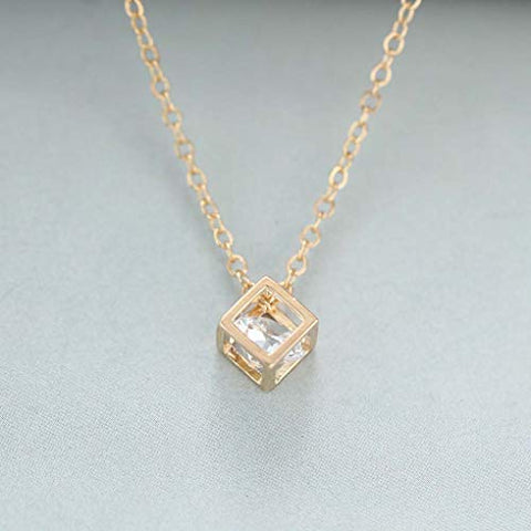 Yalice Tiny Crystal Cube Necklace Chain Short Square Pendant Necklaces Jewelry for Women and Girls (Gold)