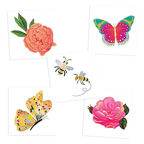 BUTTERFLY BUZZ VARIETY SET includes 25 assorted premium waterproof metallic gold temporary foil party tattoos - flower tattoo, butterfly, bee, temporary tattoo, gold tattoo