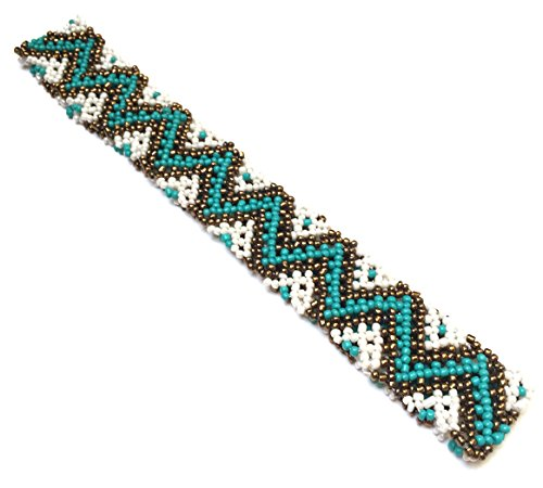 WigsPedia Native American Pattern Elastic Stretch Seed Bead Beaded Headband Hair Accessories (Turquoise/Bronze/White Zip Zap)
