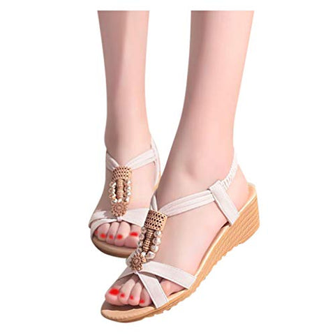 Xinantime Womens Elegant Flat Wedge Shoe Summer Elastic Strap Casual Shoes Sandals Comfort Sandals (Beige,38)