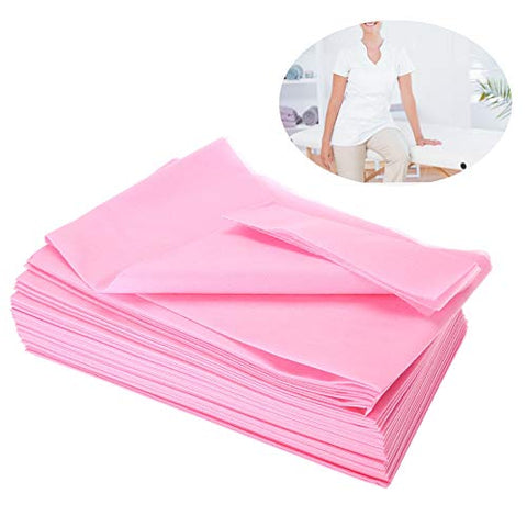 10Pcs 175x75cm Washing Fiber Sheet, Spa Disposable Bed Linen Non-Woven Waterproof Anti-oil for the Treatment Bed/Massage Table(Pink)