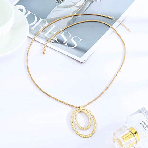 Yalice Long Pendant Necklace Chain Hollow Circle Necklaces Drop Dress Jewelry for Women and Girls (Gold)