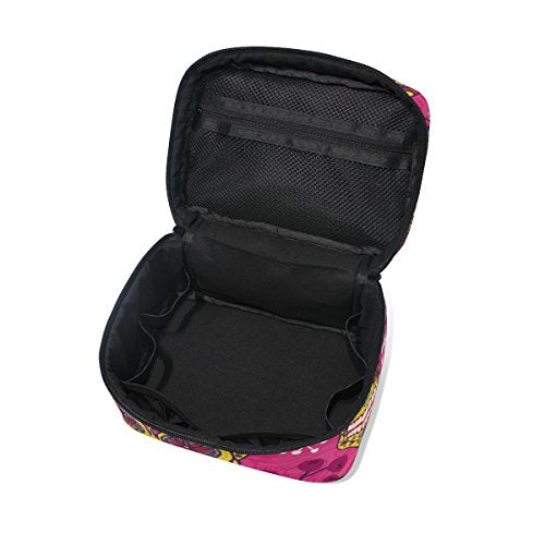 Cosmetic Bag Floral Skull Women Makeup Case Travel Storage Organizer