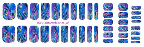 Peacock Collection (Feathers Nail Wrap Shield adult + child sizes blue)