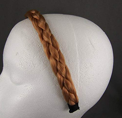 Dk Blonde Strawberry Reddish braid faux hair headband braided plaits 3/4 wide headband