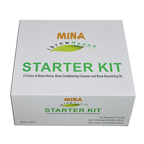 MINA I brow Henna Starter Kit (8 Colors of Ibrow henna,Brow Conditioning Cleanser & Brow Nourishing Oil