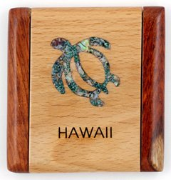 Hawaiian Jewelry and Gift Compact Mirror of a Wooden Rectangle with an Abalone Inlay Sea Turtle