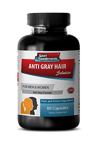 Natural Hair Color for Gray Hair Coverage - Anti Gray Hair Solution - Saw Palmetto for Women Hair Loss - 1B (60 Capsules)