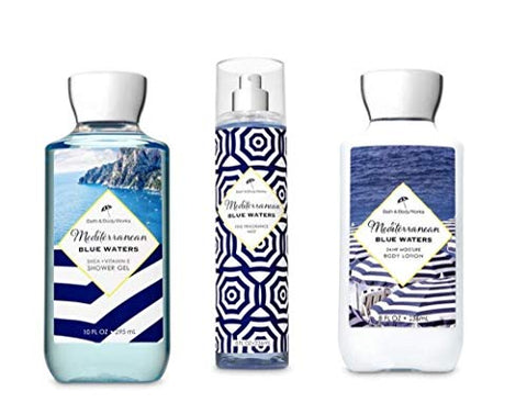 Bath and Body Works - Mediterranean Blue Water - Shower Gel, Fine Fragrance Mist and Body Lotion - Daily Trio 2019